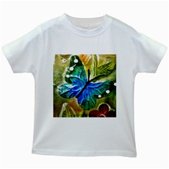 Blue Spotted Butterfly Art In Glass With White Spots Kids White T-Shirts