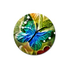 Blue Spotted Butterfly Art In Glass With White Spots Magnet 3  (Round)