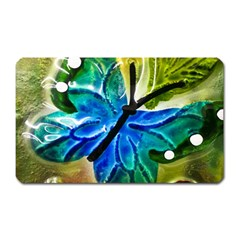 Blue Spotted Butterfly Art In Glass With White Spots Magnet (Rectangular)