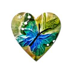 Blue Spotted Butterfly Art In Glass With White Spots Heart Magnet