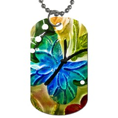 Blue Spotted Butterfly Art In Glass With White Spots Dog Tag (One Side)