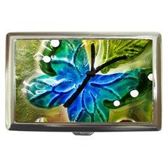 Blue Spotted Butterfly Art In Glass With White Spots Cigarette Money Cases