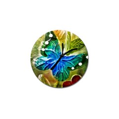 Blue Spotted Butterfly Art In Glass With White Spots Golf Ball Marker (4 Pack)