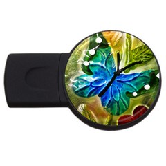 Blue Spotted Butterfly Art In Glass With White Spots USB Flash Drive Round (2 GB)