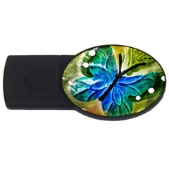 Blue Spotted Butterfly Art In Glass With White Spots Usb Flash Drive Oval (2 Gb)