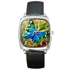 Blue Spotted Butterfly Art In Glass With White Spots Square Metal Watch