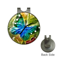 Blue Spotted Butterfly Art In Glass With White Spots Hat Clips with Golf Markers