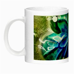 Blue Spotted Butterfly Art In Glass With White Spots Night Luminous Mugs