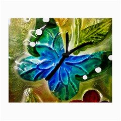 Blue Spotted Butterfly Art In Glass With White Spots Small Glasses Cloth