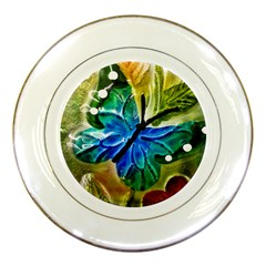 Blue Spotted Butterfly Art In Glass With White Spots Porcelain Plates