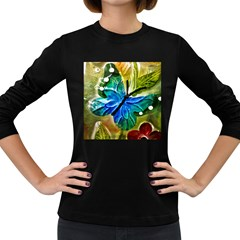 Blue Spotted Butterfly Art In Glass With White Spots Women s Long Sleeve Dark T-Shirts
