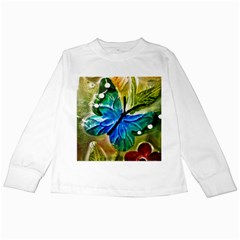 Blue Spotted Butterfly Art In Glass With White Spots Kids Long Sleeve T-Shirts