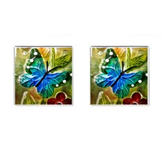 Blue Spotted Butterfly Art In Glass With White Spots Cufflinks (square)