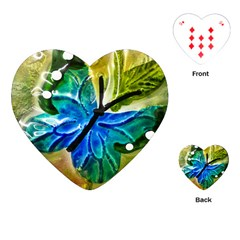 Blue Spotted Butterfly Art In Glass With White Spots Playing Cards (heart)