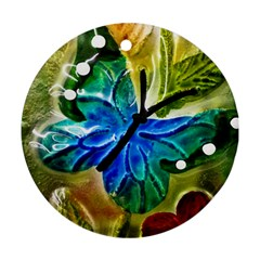 Blue Spotted Butterfly Art In Glass With White Spots Round Ornament (Two Sides)