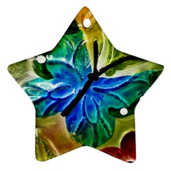 Blue Spotted Butterfly Art In Glass With White Spots Star Ornament (two Sides)