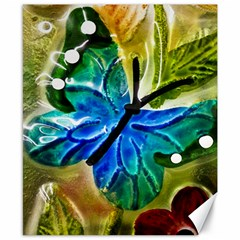Blue Spotted Butterfly Art In Glass With White Spots Canvas 8  X 10