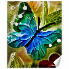 Blue Spotted Butterfly Art In Glass With White Spots Canvas 16  X 20