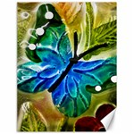 Blue Spotted Butterfly Art In Glass With White Spots Canvas 18  x 24   24 x18 Canvas - 1