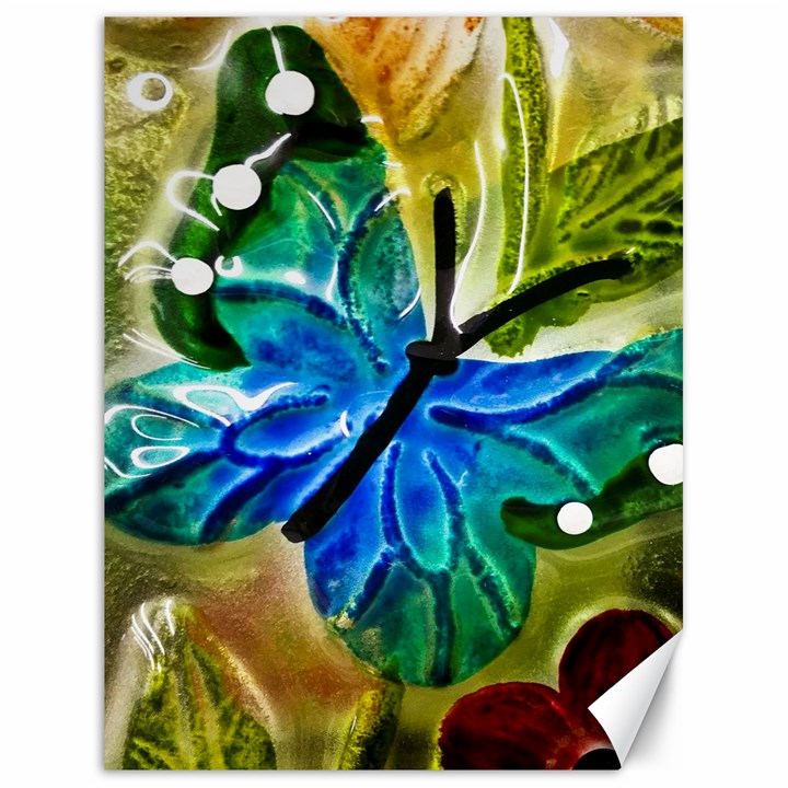 Blue Spotted Butterfly Art In Glass With White Spots Canvas 18  x 24