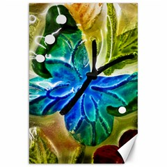 Blue Spotted Butterfly Art In Glass With White Spots Canvas 20  x 30
