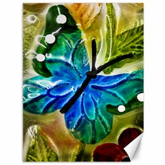Blue Spotted Butterfly Art In Glass With White Spots Canvas 36  x 48