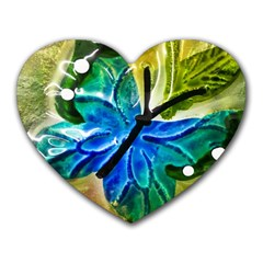 Blue Spotted Butterfly Art In Glass With White Spots Heart Mousepads