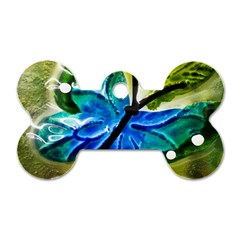 Blue Spotted Butterfly Art In Glass With White Spots Dog Tag Bone (One Side)