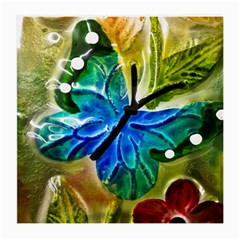 Blue Spotted Butterfly Art In Glass With White Spots Medium Glasses Cloth