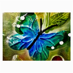 Blue Spotted Butterfly Art In Glass With White Spots Large Glasses Cloth