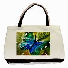 Blue Spotted Butterfly Art In Glass With White Spots Basic Tote Bag (Two Sides)