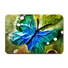 Blue Spotted Butterfly Art In Glass With White Spots Small Doormat