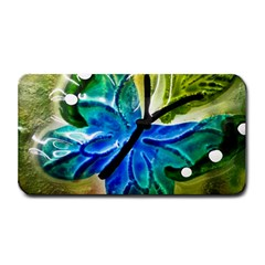 Blue Spotted Butterfly Art In Glass With White Spots Medium Bar Mats
