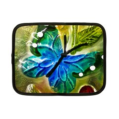 Blue Spotted Butterfly Art In Glass With White Spots Netbook Case (Small)
