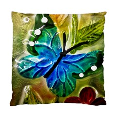 Blue Spotted Butterfly Art In Glass With White Spots Standard Cushion Case (Two Sides)