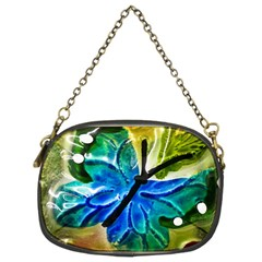 Blue Spotted Butterfly Art In Glass With White Spots Chain Purses (Two Sides)