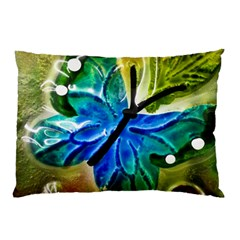 Blue Spotted Butterfly Art In Glass With White Spots Pillow Case