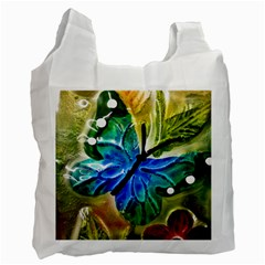 Blue Spotted Butterfly Art In Glass With White Spots Recycle Bag (One Side)