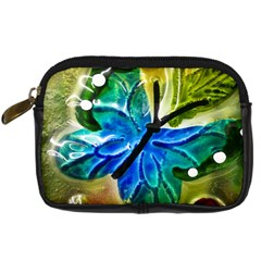 Blue Spotted Butterfly Art In Glass With White Spots Digital Camera Cases