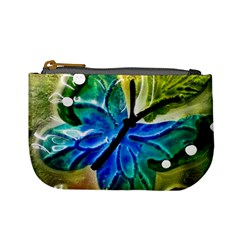 Blue Spotted Butterfly Art In Glass With White Spots Mini Coin Purses