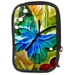 Blue Spotted Butterfly Art In Glass With White Spots Compact Camera Cases