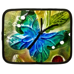 Blue Spotted Butterfly Art In Glass With White Spots Netbook Case (XL)