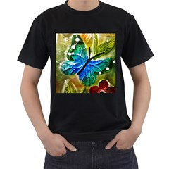 Blue Spotted Butterfly Art In Glass With White Spots Men s T-Shirt (Black)