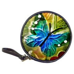 Blue Spotted Butterfly Art In Glass With White Spots Classic 20-CD Wallets