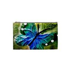 Blue Spotted Butterfly Art In Glass With White Spots Cosmetic Bag (Small)
