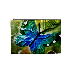 Blue Spotted Butterfly Art In Glass With White Spots Cosmetic Bag (Medium)