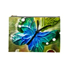 Blue Spotted Butterfly Art In Glass With White Spots Cosmetic Bag (Large)