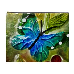 Blue Spotted Butterfly Art In Glass With White Spots Cosmetic Bag (xl)