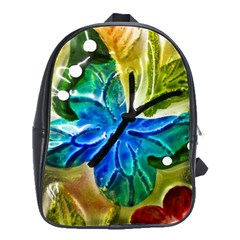 Blue Spotted Butterfly Art In Glass With White Spots School Bags(Large)