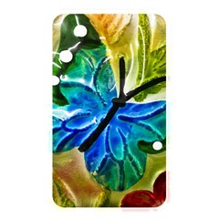 Blue Spotted Butterfly Art In Glass With White Spots Memory Card Reader